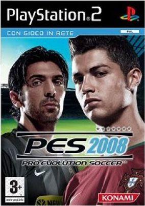 Immagine della copertina del gioco Pro Evolution Soccer 2008 per Playstation 2