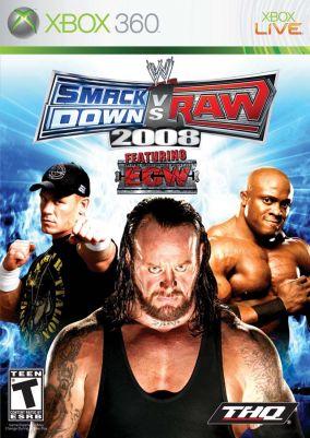 Immagine della copertina del gioco WWE Smackdown vs. RAW 2008 per Xbox 360