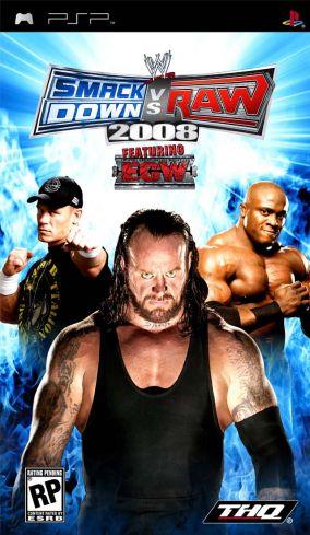 Immagine della copertina del gioco WWE Smackdown vs. RAW 2008 per Playstation PSP
