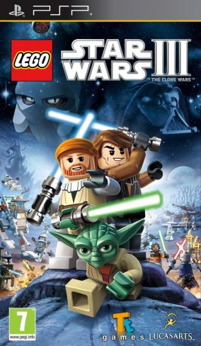 Copertina del gioco LEGO Star Wars III: The Clone Wars per Playstation PSP
