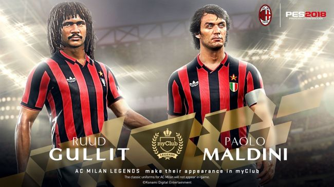 Konami: le leggende di Milan e Inter arrivano su PES 2018