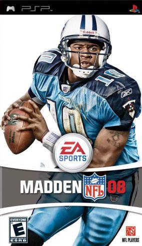 Immagine della copertina del gioco Madden NFL 08 per PlayStation PSP