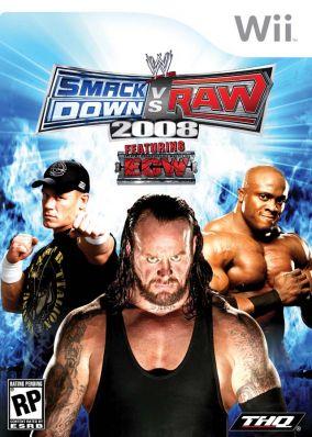 Immagine della copertina del gioco WWE Smackdown vs. RAW 2008 per Nintendo Wii